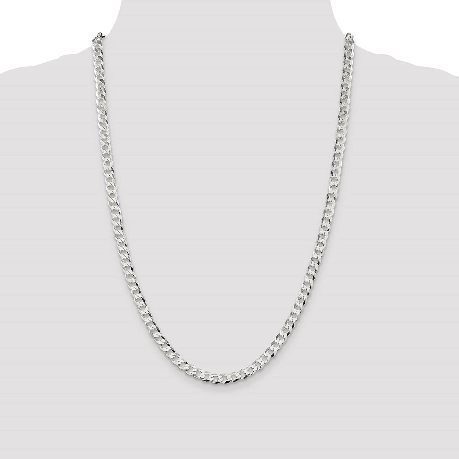 925 Sterling Silver 5.7mm Close Link Flat Curb Link Chain Necklace 7-24