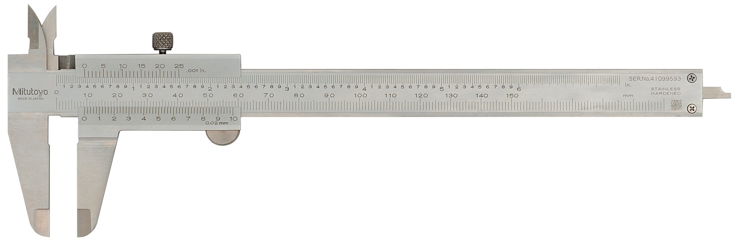 Mitutoyo 530-312 Vernier Calipers, Stainless Steel, for Inside, Outside, Depth and Step Measurements, Metric, 0''/0mm-150mm Range, +/-0.03mm Accuracy, 0.02mm Resolution, 40mm Jaw Depth