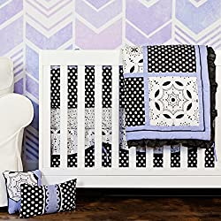 5 piece Designer Girl Crib Bedding Set Black White & Periwinkle Purple, Polka Dots, Flowers 100% Cotton