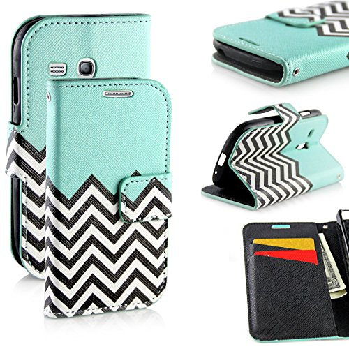 Galaxy S3 Mini Case, RANZ Stylish Design Deluxe PU Leather Folio Flip Book Wallet Pouch Case Cover (Teal Waves) For Samsung Galaxy S3 Mini i8190 (Leather Samsung S3 Mini compare prices)