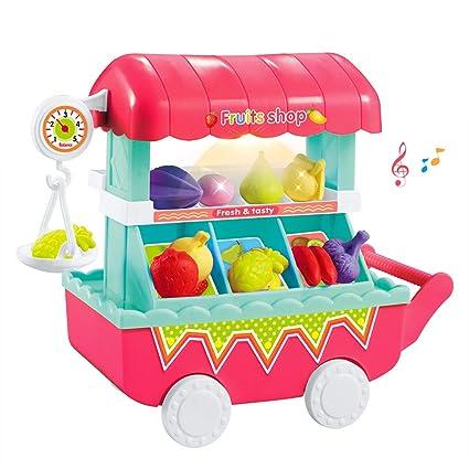 Carrito de Compras para niños, Carrito de Compras para niños Juego de Trolley con luz