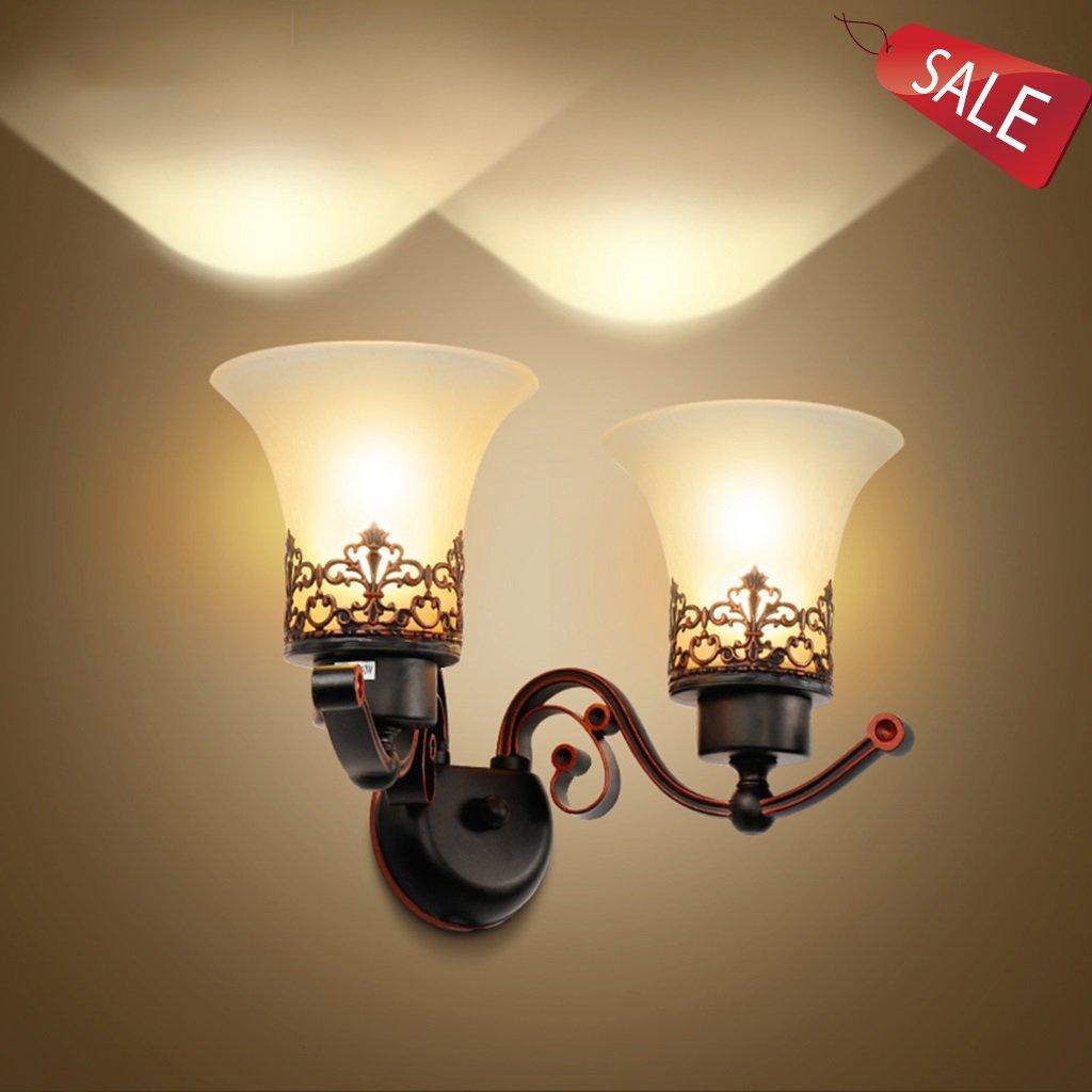 Wandlampe Ganglichter Nachttischlampe Spiegellicht Wandleuchten Erleuchtung Innenbeleuchtung Eisen Glas Schlafzimmer Wohnzimmer Gang Bar Retro E27 A+ (Größe   52cm 20.5inch)