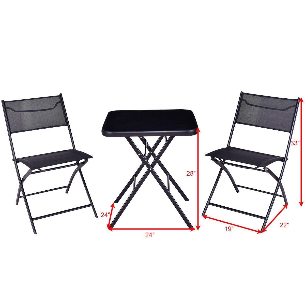 All4you Patio Bistro Table Set With Chairs Folding Outdoor Seater Coffee Table Set Black Backyard Balcony Furniture by All4you (Image #5)