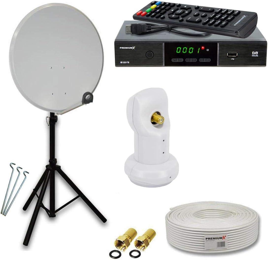 Satélite (Antena Parabólica Juego con Single LNB, trípode, receptor y antena | Color y Tamaño a Elegir