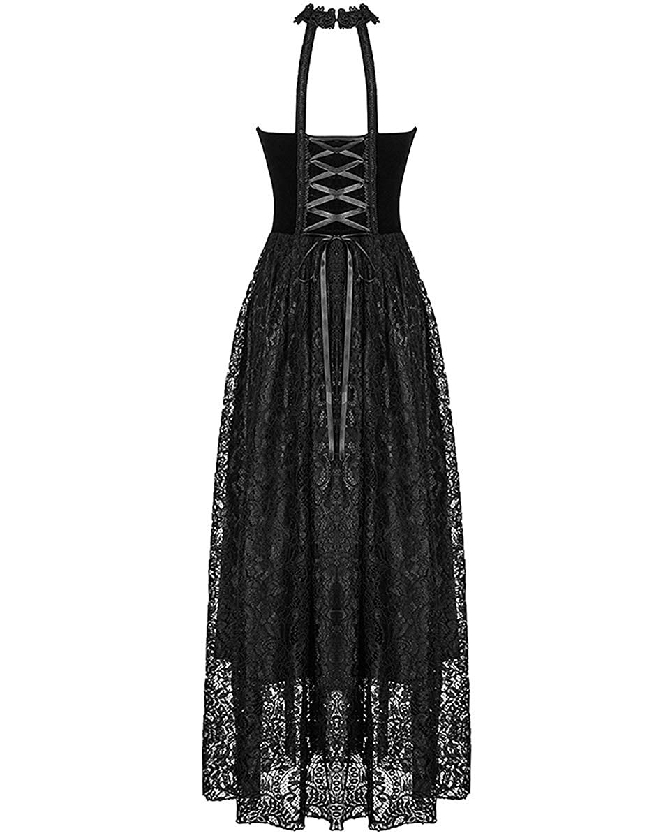 Dark In Love Gothic Prom Dress Black Velvet Lace Steampunk Vtg