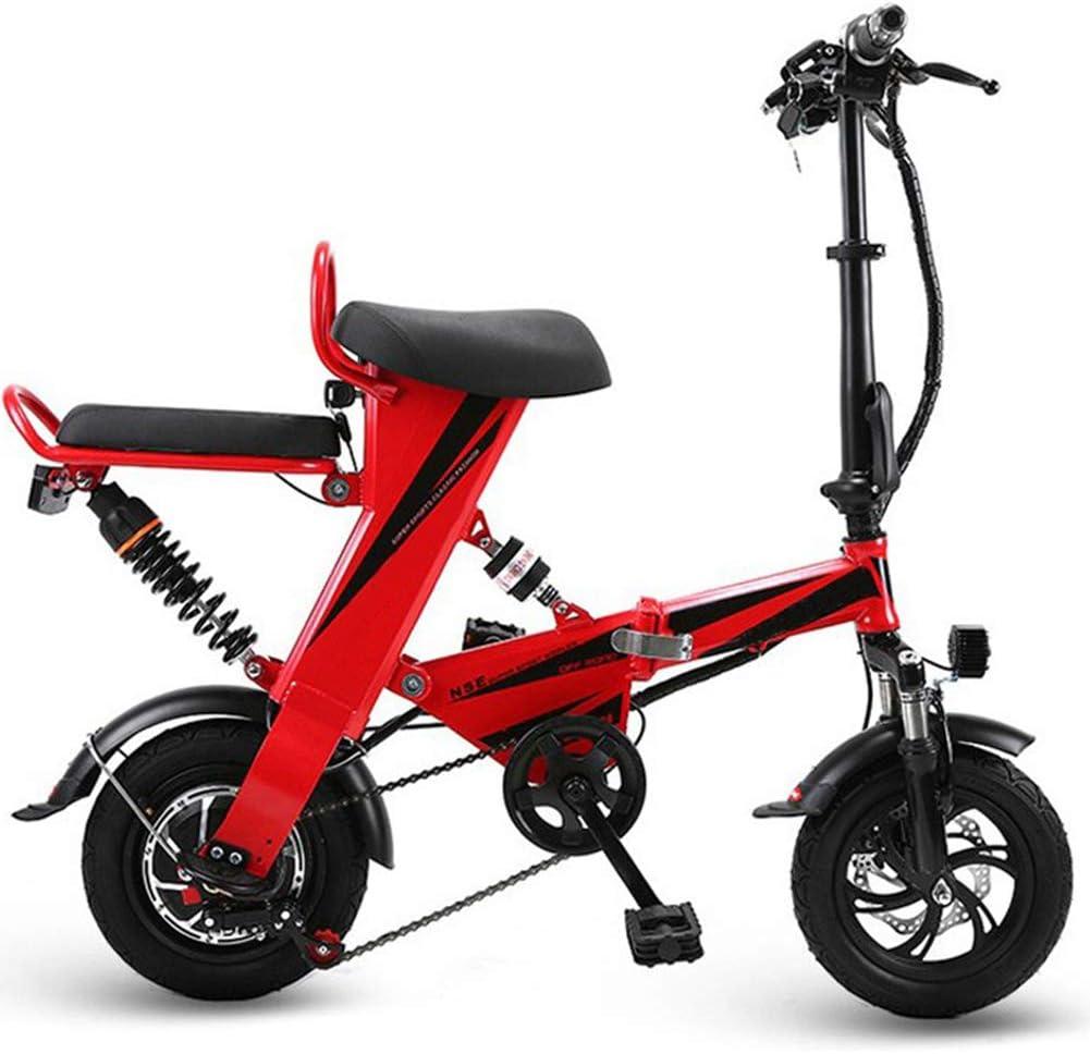 折りたたみ電動自転車-スクーター均一速度20km / H/リモートコントロールセキュリティキー付き/ 12インチ超軽量,赤 赤