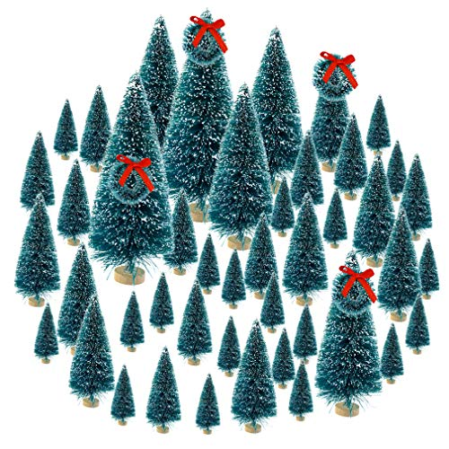 Topbuti 48 Pcs Bottle Brush Trees Mini Christmas Trees Artificial Xmas Trees Sisal Snow Frost Trees Diorama Tree with Wood Base for Christmas Craft Decoration Home DIY Décor (Bottles Tree From Christmas)
