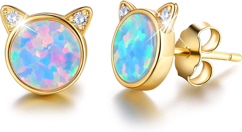 ✦Regalos para Navidad✦Pendientes chapados en oro de 18 quilates de plata de ley 925 con ópalo de gato lindo con piedra natural hipoalergénicos, regalo para mujeres y niñas