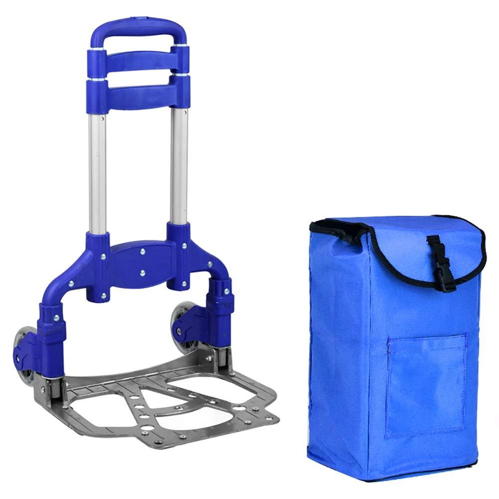 ショッピングキャリ トロリードリーアルミニウム合金ハンドカーショッピングカートポータブルシニアラゲッジトレーラーPUミュートホイール (色 : 青) B07HNMRRR2 青