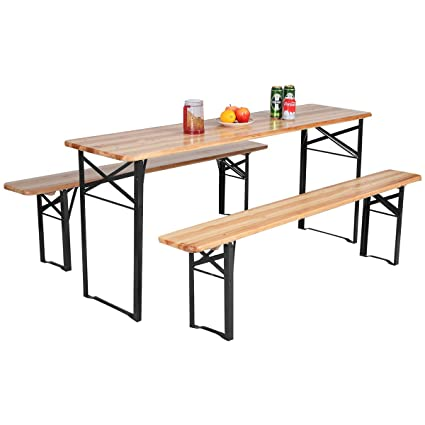 folding picnic table camping giantex 3piece portable folding picnic beer table with seating set wooden top amazoncom