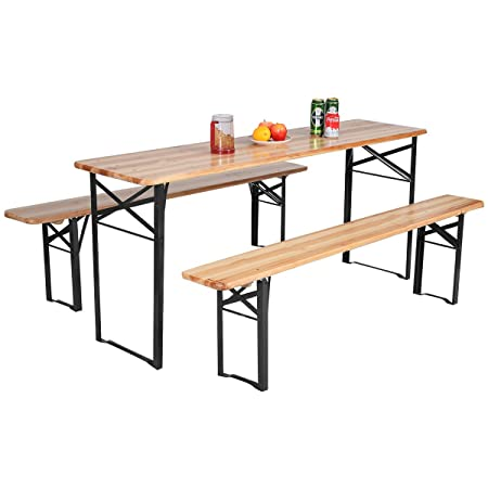 Giantex 70 3-Piece Portable Folding Picnic Beer Table with Seating Set Wooden Top Picnic Table for Patio Outdoor Activities Garden Use, 30 Table Height