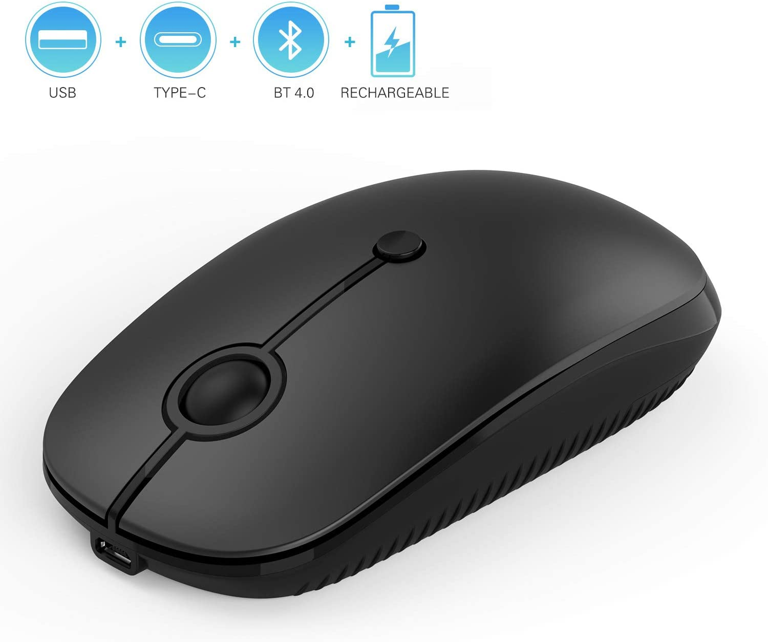 Rechargeable 2.4GHz Wireless Bluetooth Mouse, Jelly Comb