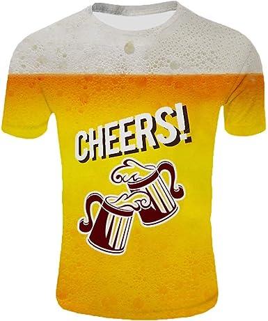Camiseta de Cerveza Manga Corta con Estampado 3D para Hombre Hombre Camiseta Deportiva Hombre Deportes Hombre Mujer Casual Manga Corta Camisas Playa Verano Unisex: Amazon.es: Ropa y accesorios