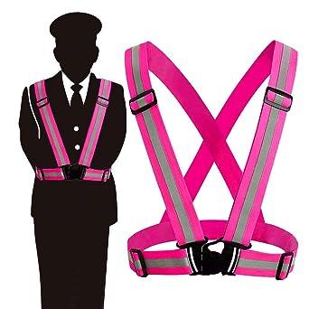 Sicherheitsweste Jtdeal Einstellbar Warnweste Reflektorweste Elastisch Für Laufen Motorrad Fahrradfahren Sport Kinder Erwachsene Pink Gewerbe Industrie Wissenschaft