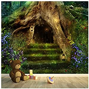 azutura Magical Tree House Wall Mural Fairytale Forest Photo Wallpaper Girls Home Decor Available in 8 Sizes Gigantic Digital