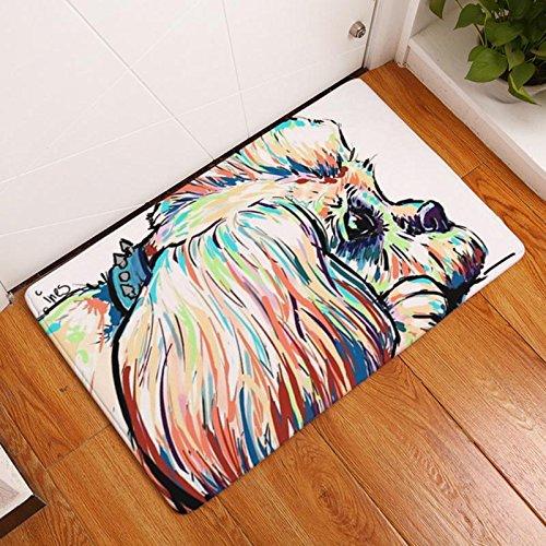 Eazyhurry Long Fur Puppy Dog Print Rectangle Thin Doormat Pet Puppy Dog Printed Coral Fleece Home Decor Carpet Kitchen Floor Runner Floor Mat Indoor Outdoor Area Rug 16