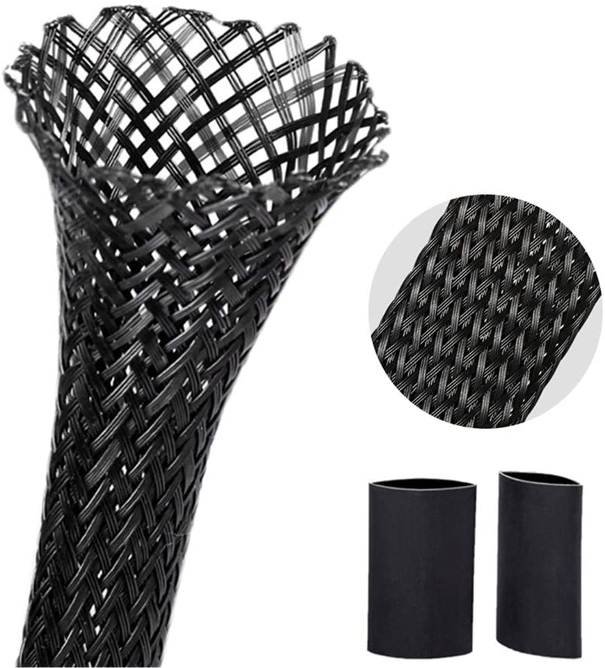 Braided PET Expandable Wire Loom 10Ft - 1/2 Inch, Braided Wire Sleeving Mesh Cable Management with 2 Heat Shrinkable Tubes, Braided Cable Sleeve for Home Office Cord Protector - Black
