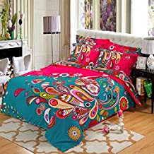 Alicemall Boho Bedding Bohemian Style Green Peacock Feathers Flower Prints Duvet Cover Set 100% Cotton Super Shuffle 4 Pieces Exotic Bedroom Sheets Set, Queen / King Size (Queen/King, Red & Green)