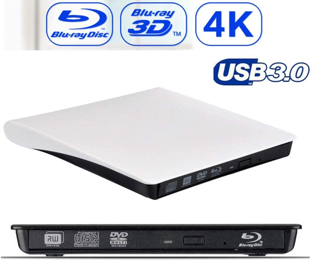USB3.0 BLU-Ray Grabadora De Unidad Óptica Externa 3D Reproductor De BD-RE del Quemador Grabadora De DVD +/- RW DVD-RAM para ASUS Samsung Acer,Blanco: Amazon.es: Hogar