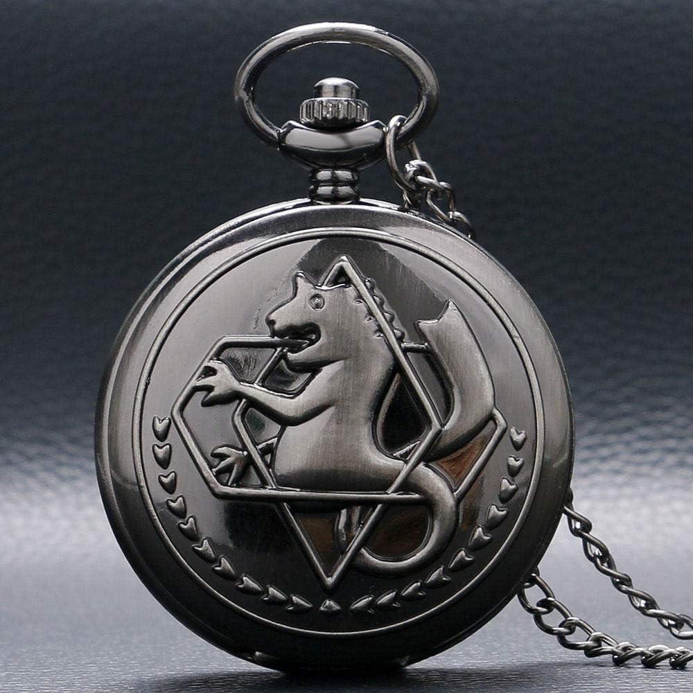 YHWW Reloj de bolsill oHot Anime Cartoon Fullmetal Alchemist Reloj de Bolsillo Vintage Hombres Mujeres Niños Niños Cosplay Collar Colgante Cadena Regalos de cumpleaños