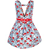 Sunny Fashion KJ95 Girls Dress Red Belt Flower Suspender Skirt School Size 10