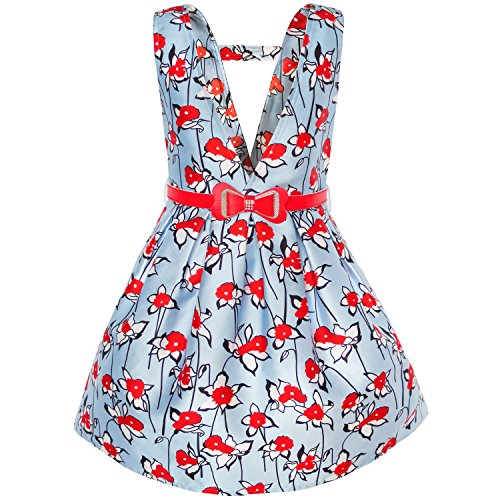 Sunny Fashion KJ95 Girls Dress Red Belt Flower Suspender Skirt School Size 10 by Sunny Fashion