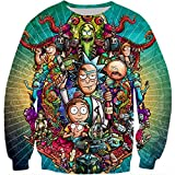 YX GIRL 3D Sweatshirts Unisex 3D Printed Rick and Morty Sweatshirts Fashion Pullover (L, Rick and Morty Sweatshirts)