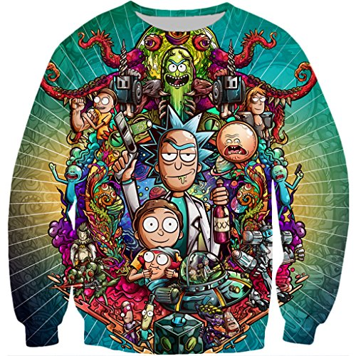 YX GIRL 3D Sweatshirts Unisex 3D Printed Rick and Morty Sweatshirts Fashion Pullover (L, Rick and Morty Sweatshirts) by YX GIRL (Image #1)