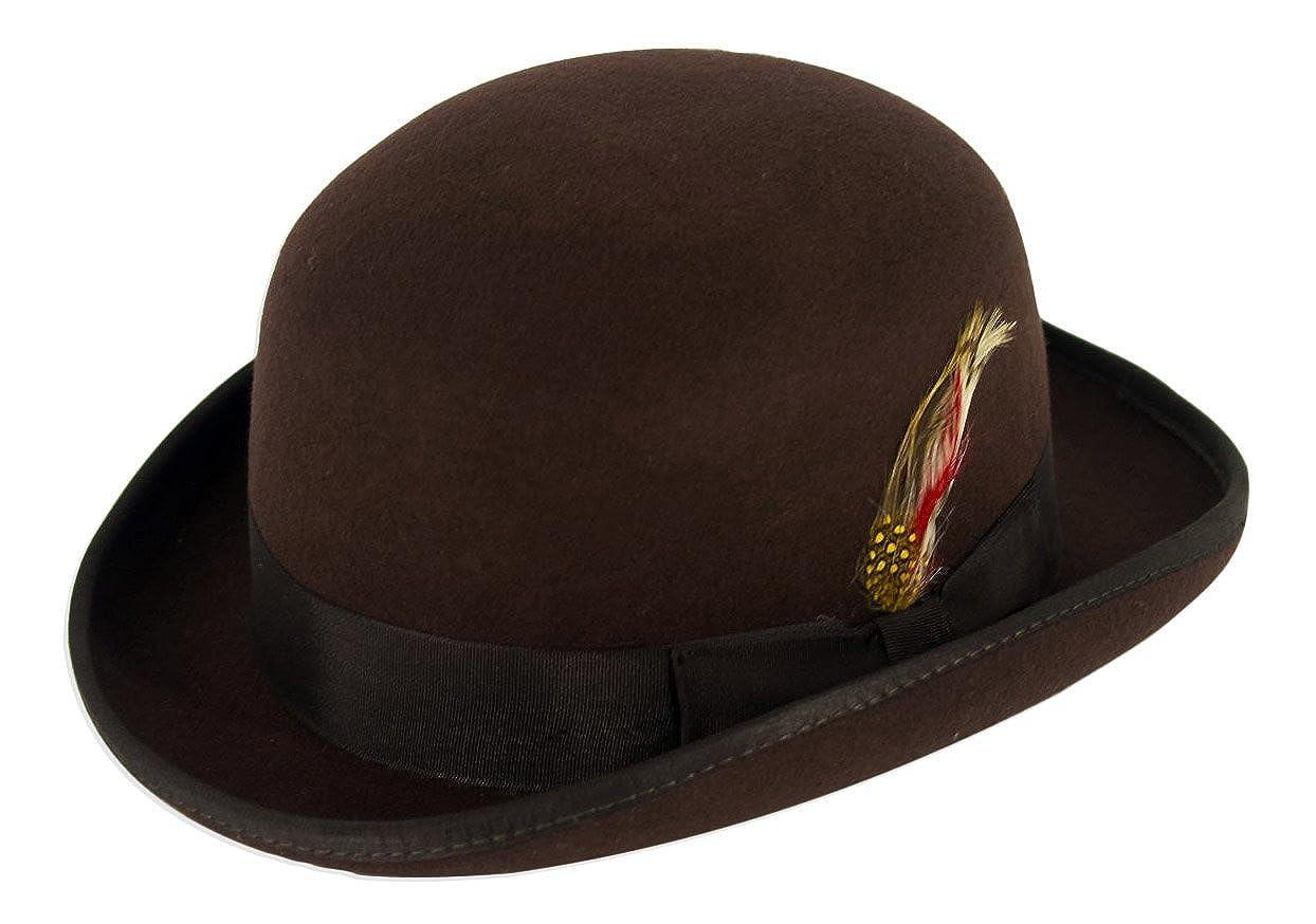Gamble & Gunn Bowler Hat 100% Brown Wool Felt