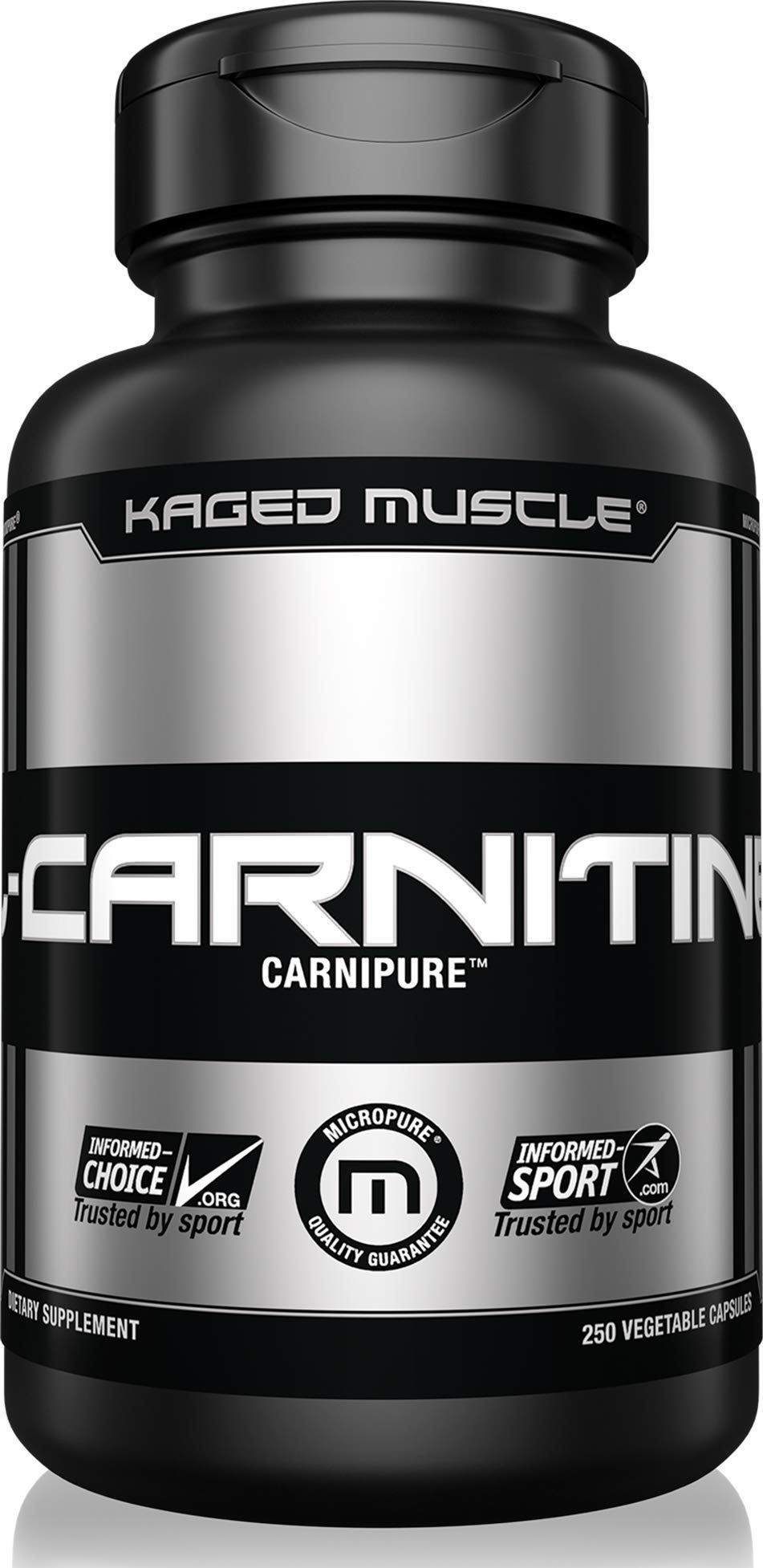 Kaged Muscle, Premium L-Carnitine 500 mg, Stimulant Free for Men & Women, Supports Recovery and reduction of post-workout markers of muscle stress and soreness, Carnitine, 250 Veggie Capsules by Kaged Muscle