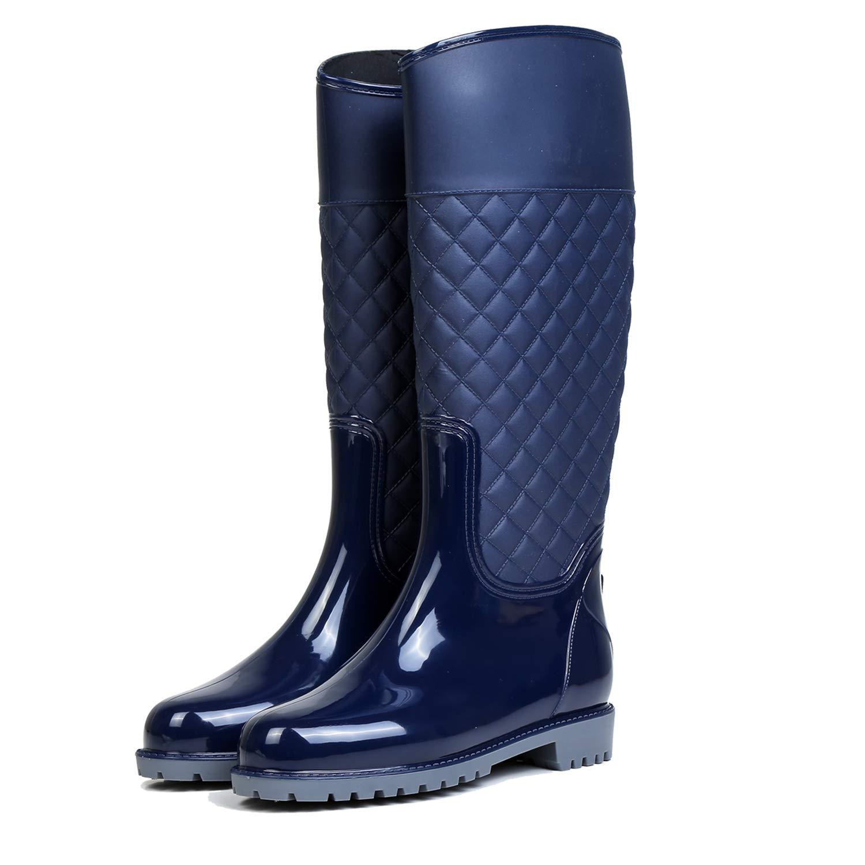 LILY999 Women Wellington Boots Knee High Rain Boots Waterproof Warm Soft Villi Spliced Rainshoes