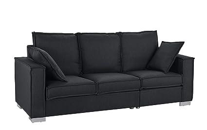 Classic Linen Fabric Sofa, Living Room Couch (Dark Grey)