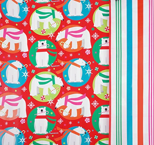 Polar Bear Mint (Peppermint Polar Bears Reversible Gift Wrap Roll with Gift Tags - 24