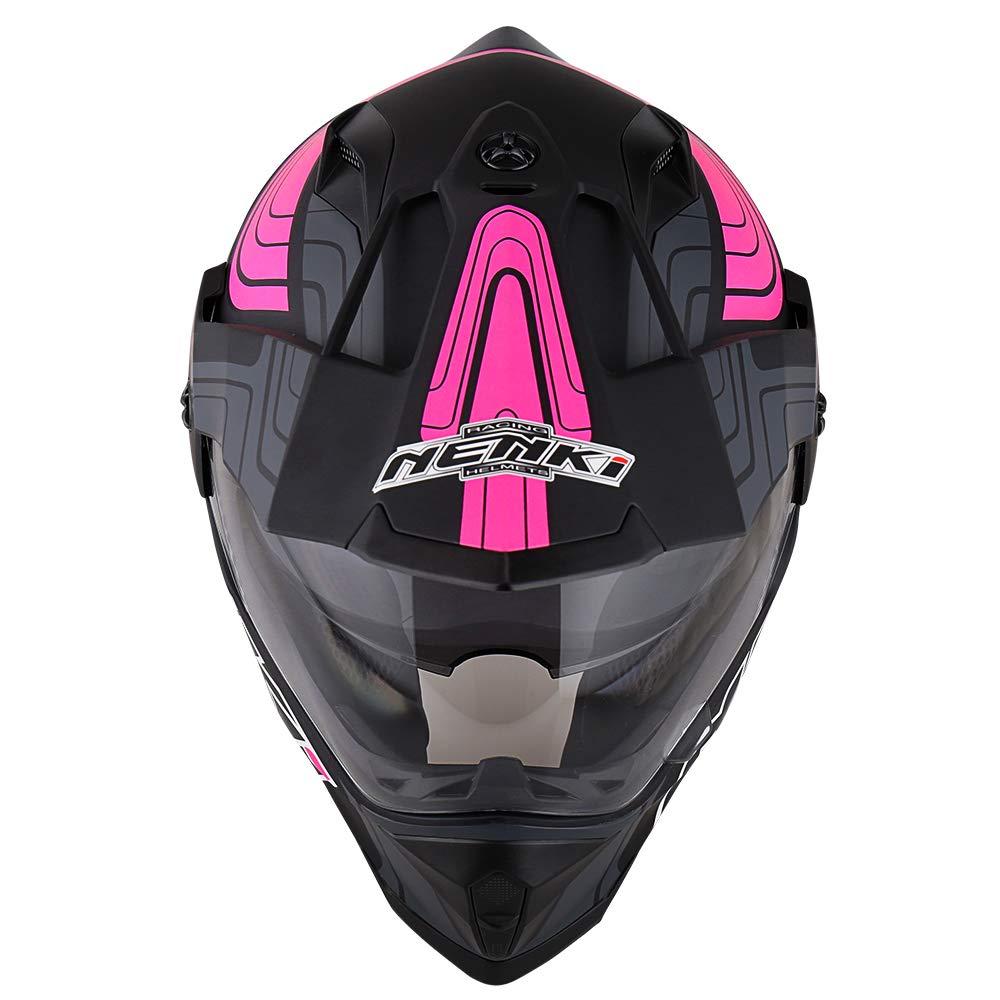 NENKI NK-313 Adventure Dual Sport Enduro Helmets ECE Approved With Sun Visor Medium, Black Blue Matt