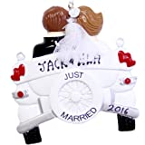 Just Married Personalized Christmas Ornament, Vintage Wedding Car