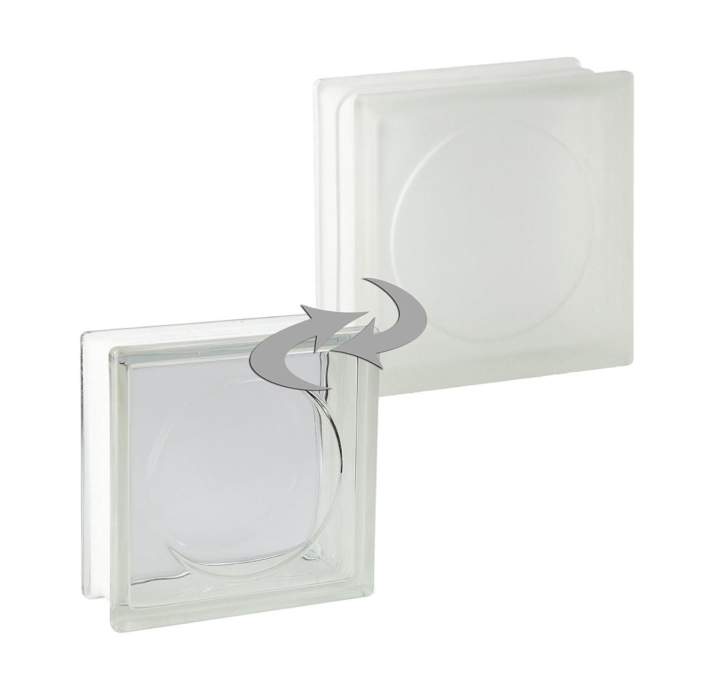 vidrio mate 19x19x8 cm 5 piezas FUCHS bloques de vidrio alpha blanco satinado por un lado