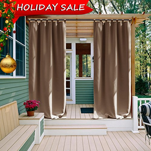 Indoor Outdoor Curtains (Outdoor Curtain Panel for Patio - NICETOWN Home Decorations Thermal Insulated Privacy Tab Top Blackout Indoor Outdoor Curtain / Drape (1 Pcs,52 x 108-Inch, Tan-Khaki))
