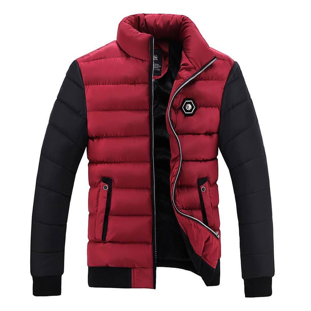 Men's Winter Coat Sale Color Collision Jacket Thickening Warm Cotton-Padded Outwear