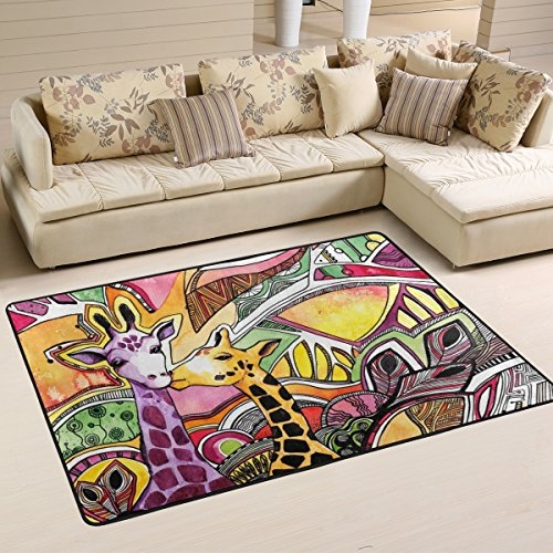Naanle Animal Area Rug 2'x3', Watercolor Giraffe Abstract Painting Polyester Area Rug Mat for Living Dining Dorm Room Bedroom Home Decorative