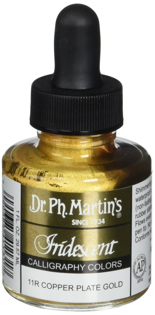 Dr. Ph. Martin's Iridescent Calligraphy Color (11R) Ink Bottle, Copper Plate Gold