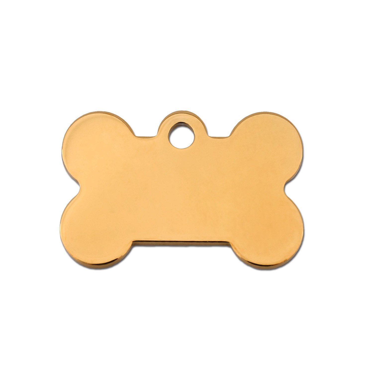 Quick-Tag Small gold Bone Personalized Engraved Pet ID Tag