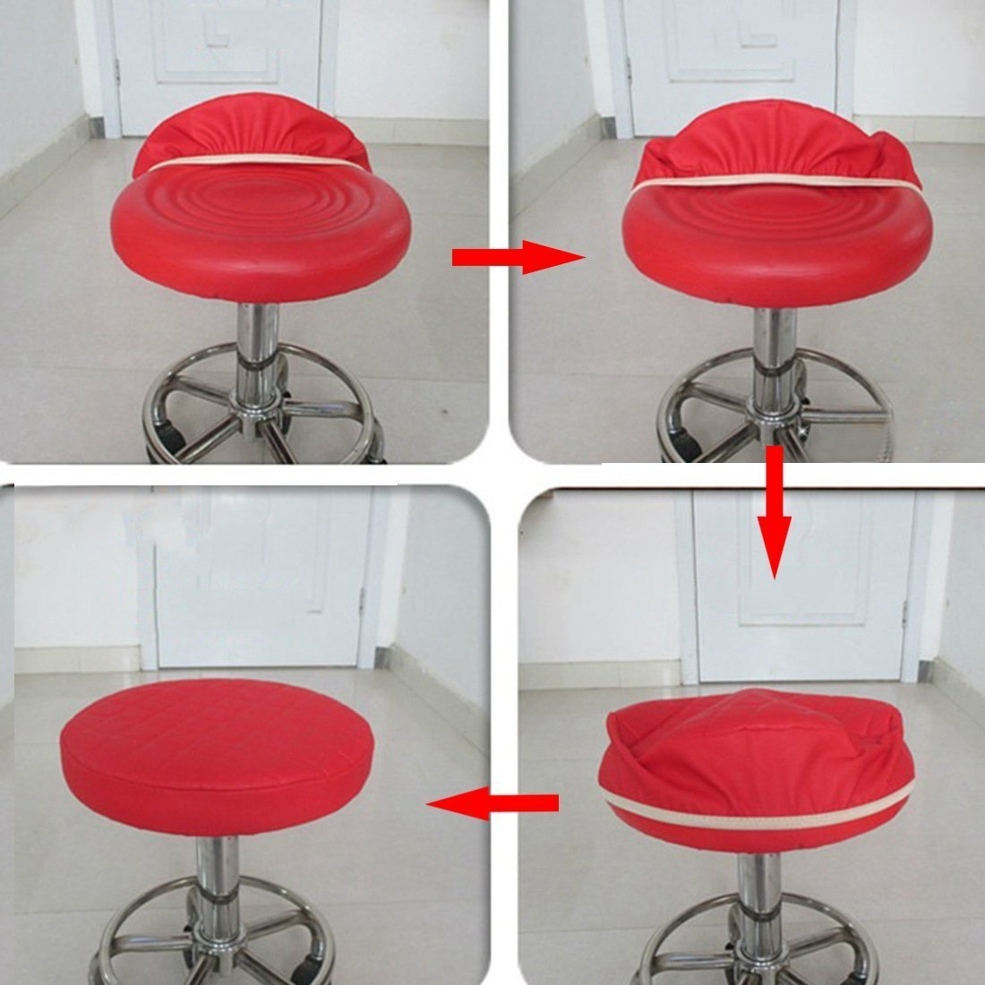 Sigmat 2pc 16 Inch Waterproof Pu Bar Stool Cover Anti Slip