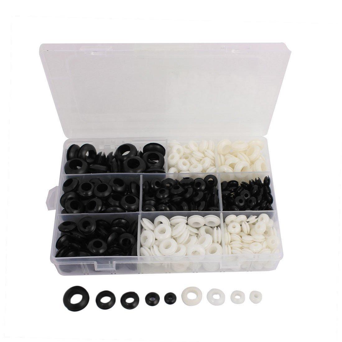 sourcingmap® Pasacables de goma junta de Cable Eléctrico 5 tamaños agujero negro blanco 510pcs SYNCTEA006077