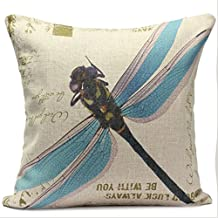 SODIAL Classic Flax Decor pillow case, Countryside Blue Dragonfly 17.7 inch
