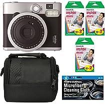 Fujifilm Instax Mini 90 Neo Classic Instant Film Camera - Bundle Includes 6 Pack Fuji Instax Mini Film (60 Prints) + Case + Microfiber Cleaning Cloth