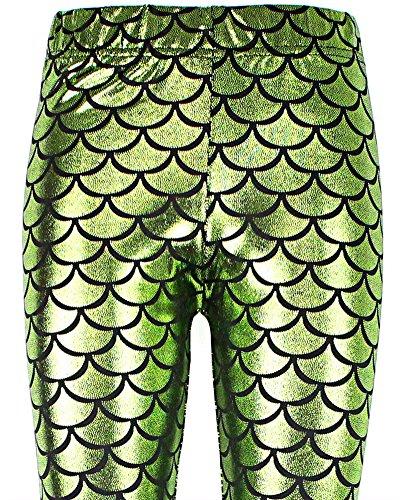 SaiDeng Mujer Pantalones Elásticos Patrón De Escala De Pescado Tight Leggings Glauco