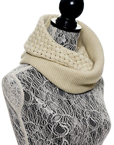 Chunky Infinity Scarf Soft Warm Cozy Scarfs for Women Circle Knit Winter Scarves - Cream Light