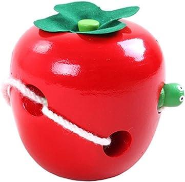 Highdas niños educativos para la primera de roscado, juguetes de madera oruga comer manzanas juego, Montessori material que rosca de Apple del desgaste de los juguetes de cuerda: Amazon.es: Juguetes y juegos