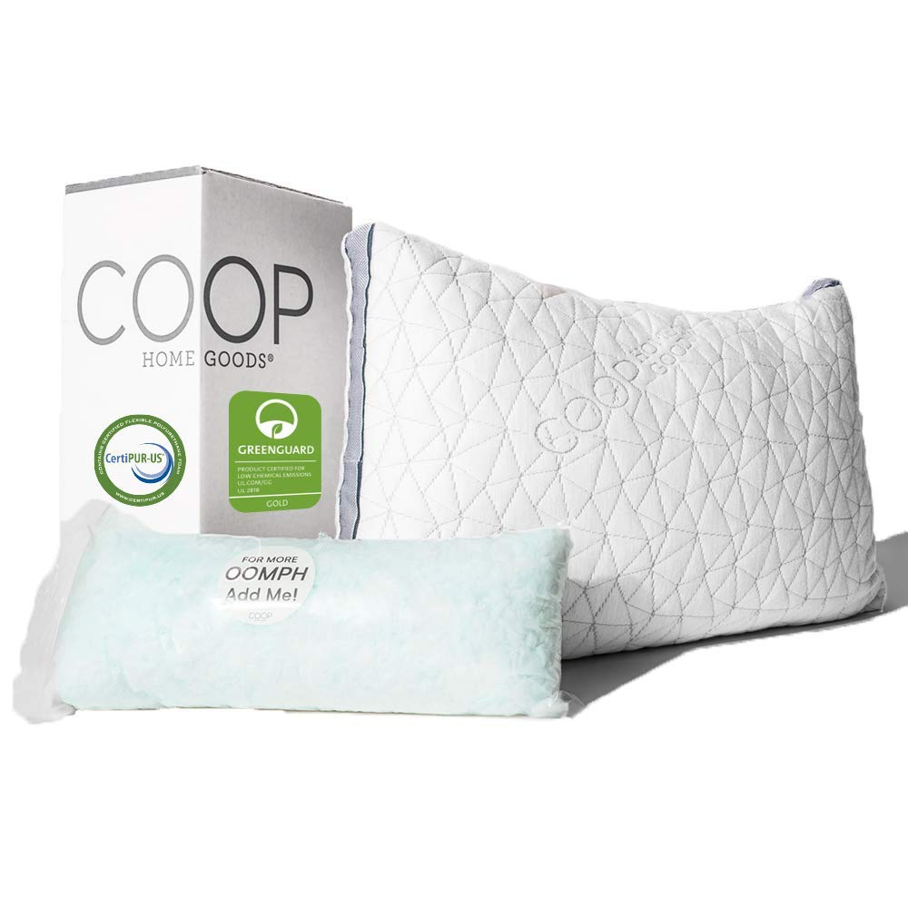 Coop Home Goods - Eden Adjustable Pillow - Hypoallergenic Shredded Memory Foam with Cooling Gel - Lulltra Washable Cover from Bamboo Derived Rayon - CertiPUR-US/GREENGUARD Gold Certified - Standard by Coop Home Goods