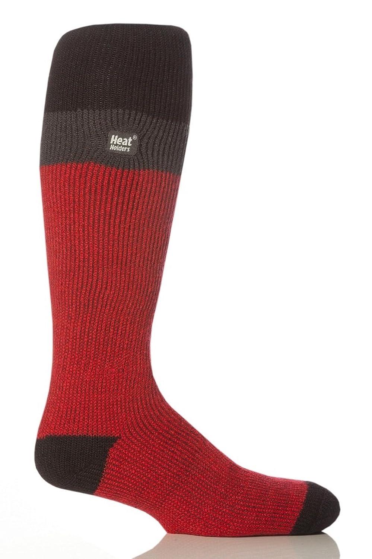 1 Paar Herren Original thermisch Winter Warm Wärme Inhaber Ski Socken 6-11 uk, 39-45 EUR, 7-12 usa Schwarz / Dunkelgrau / rot